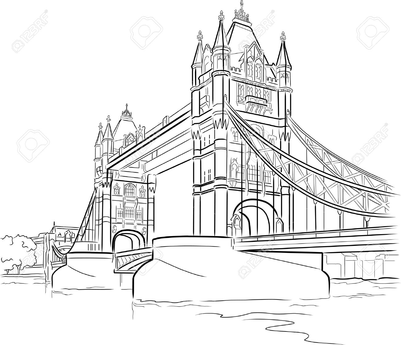 Drawing Tower Bridge In London Uk