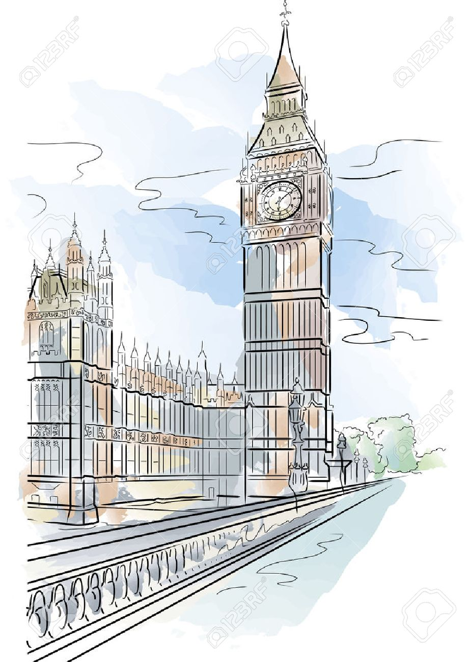 Drawing Color Big Ben Of Tower In London Uk Stock Vector 5753815 Architectural Drawings