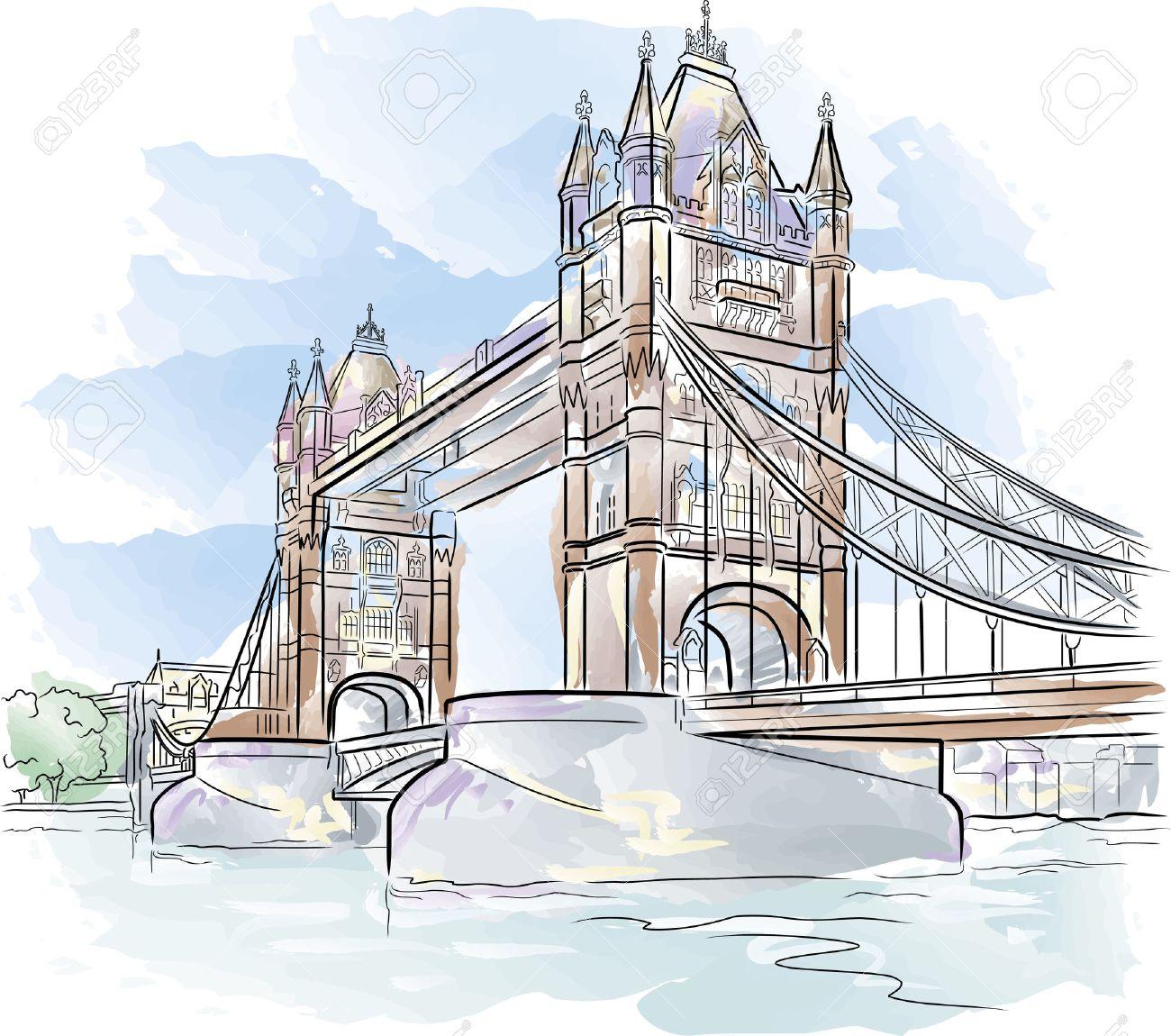 Drawing Color Tower Bridge In London UK Stock Vector