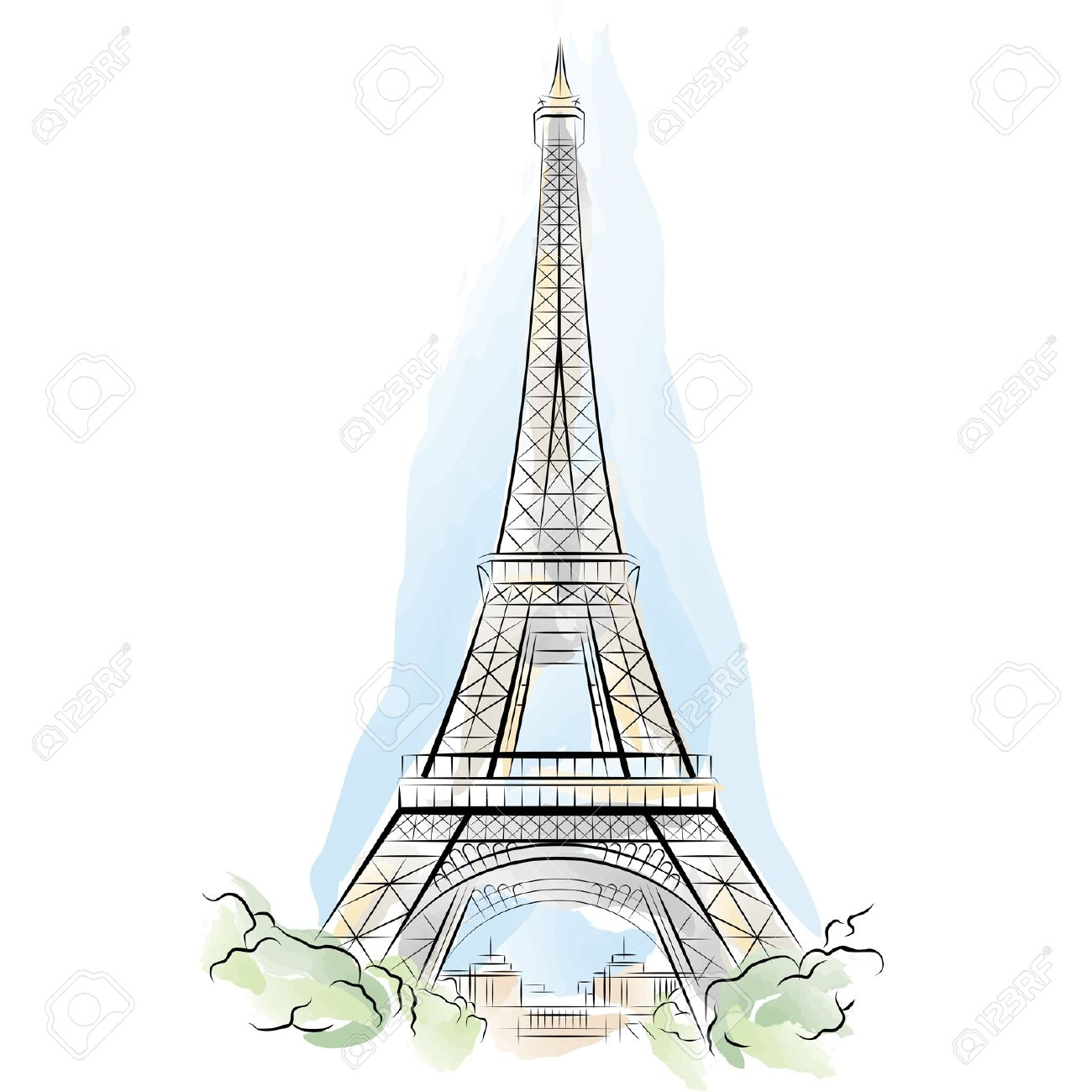 Drawing Color Eiffel Tower In Paris France Vector Illustration Royalty Free Cliparts Vectors And Stock Illustration Image 10118239