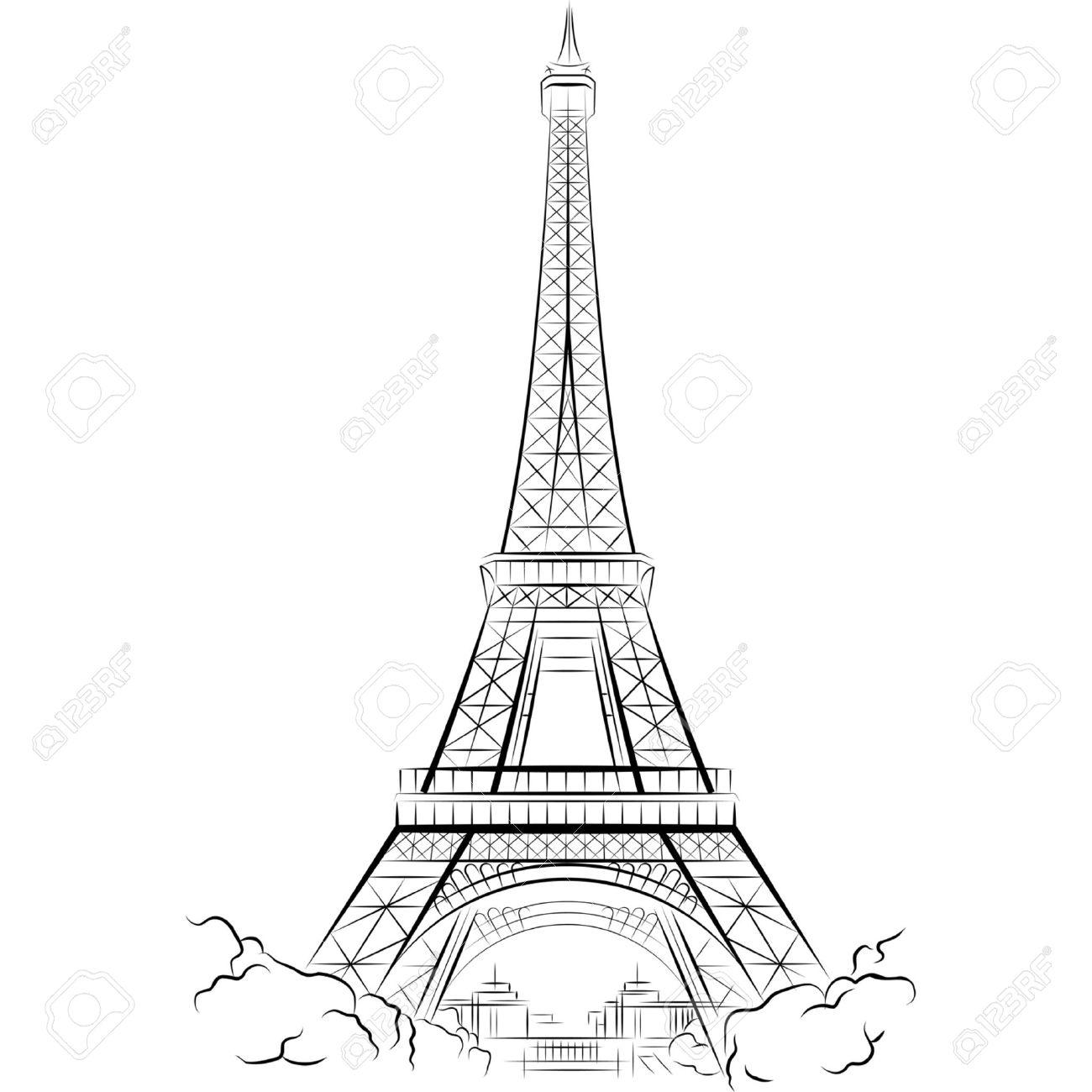 Dessin Tour Eiffel A Paris France Vector Illustration Clip Art