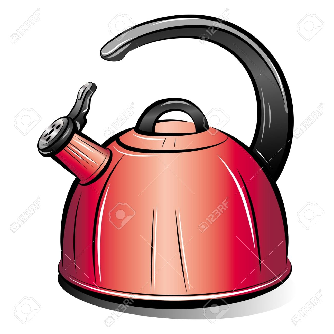 Drawing Of The Red Teapot Kettle On White Background Vector Royalty Free Cliparts Vectors And Stock Illustration Image 10529197