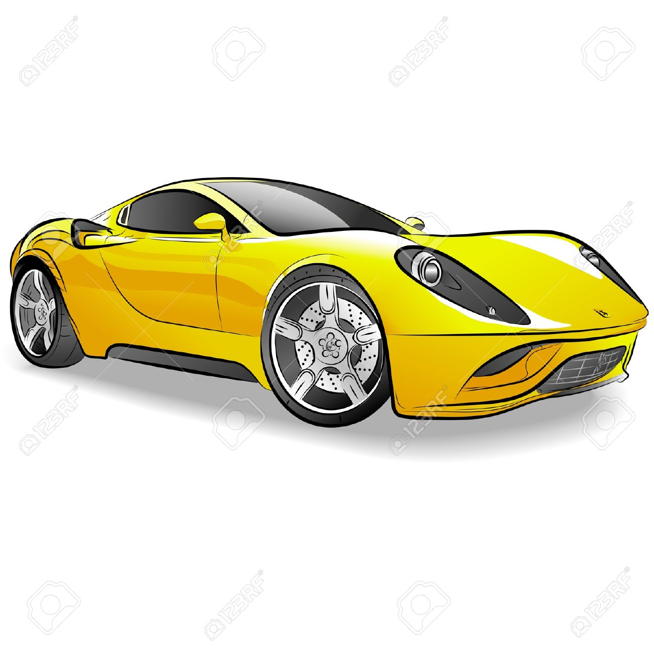 Drawing Of The Yellow Expensive Car Royalty Free Cliparts Vectors