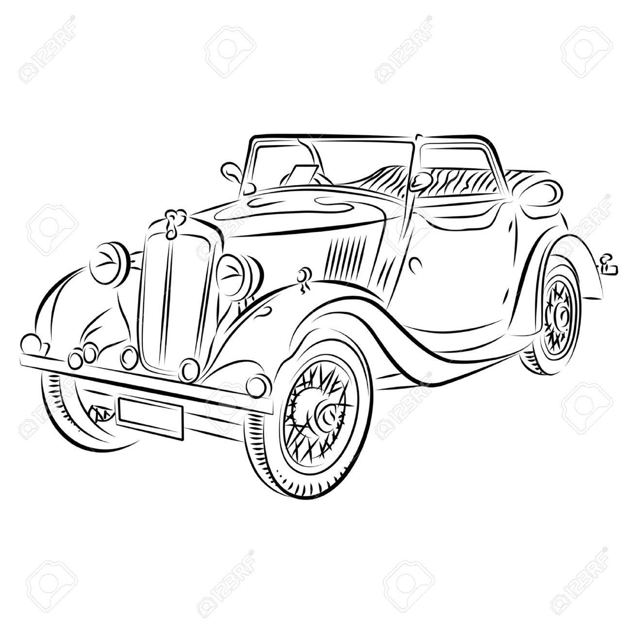 Drawing of the retro car. Stock Vector - 10577096