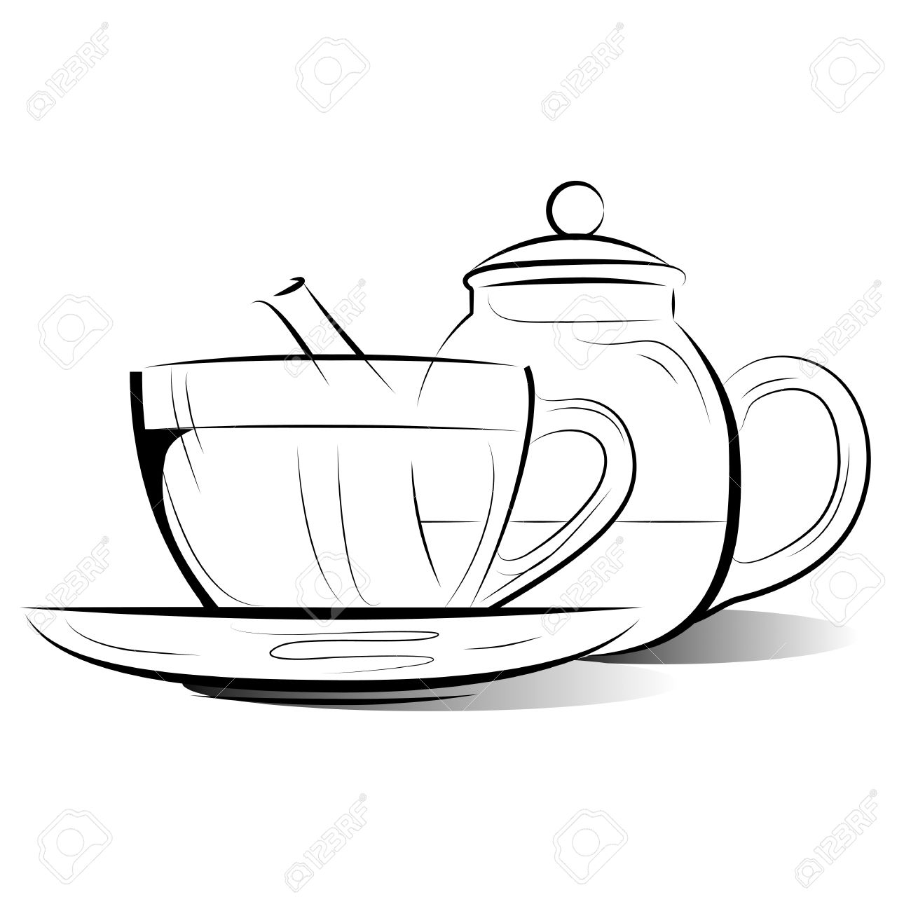 Drawing Teapot and cup of tea on a white background Stock Vector - 12828896