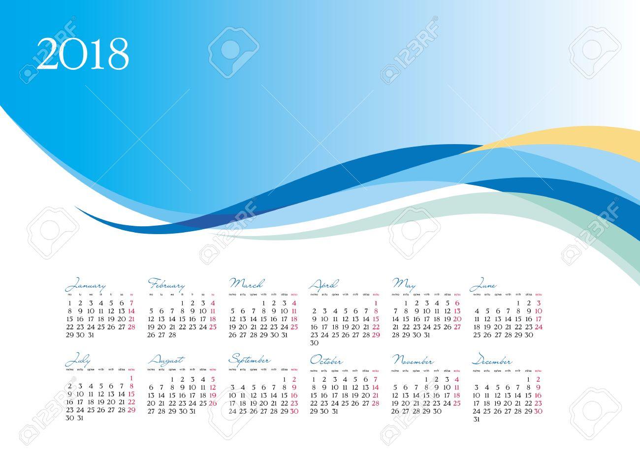 Plantilla De 2018 Calendario Sobre Fondo Azul, Ilustración Vectorial ...