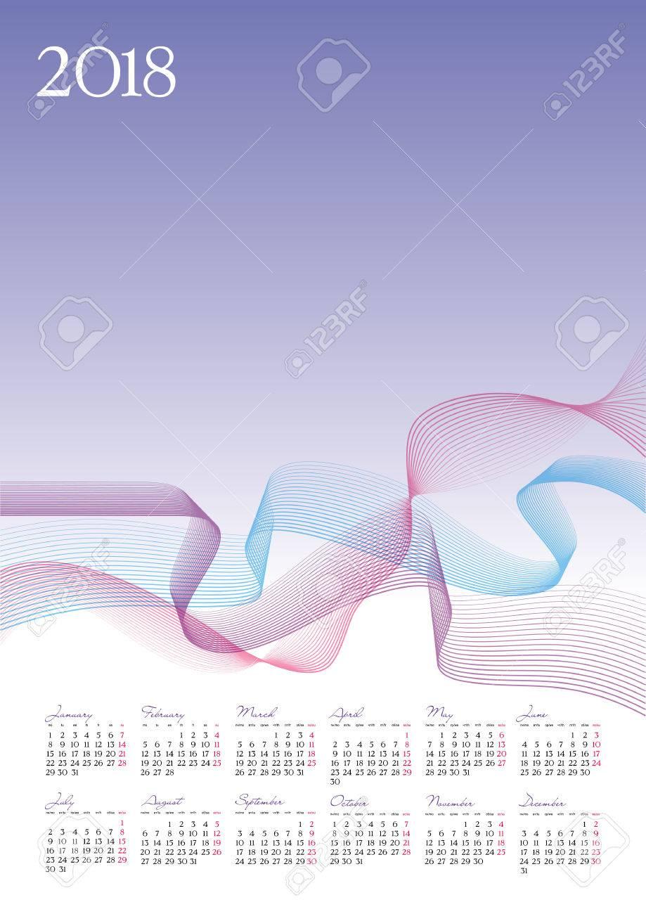 Plantilla De 2018 Calendario Sobre Fondo De Lavanda, Ilustración ...