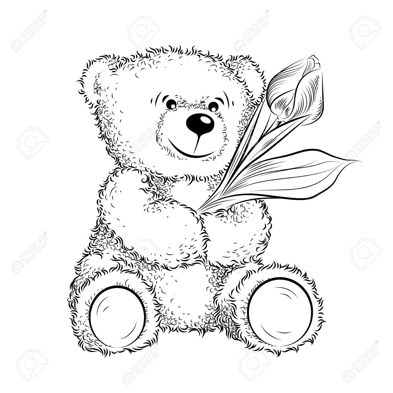 Drawing Teddy Bear With Flower Black And White Vector Illustration Royalty Free Cliparts Vectors And Stock Illustration Image 124849684