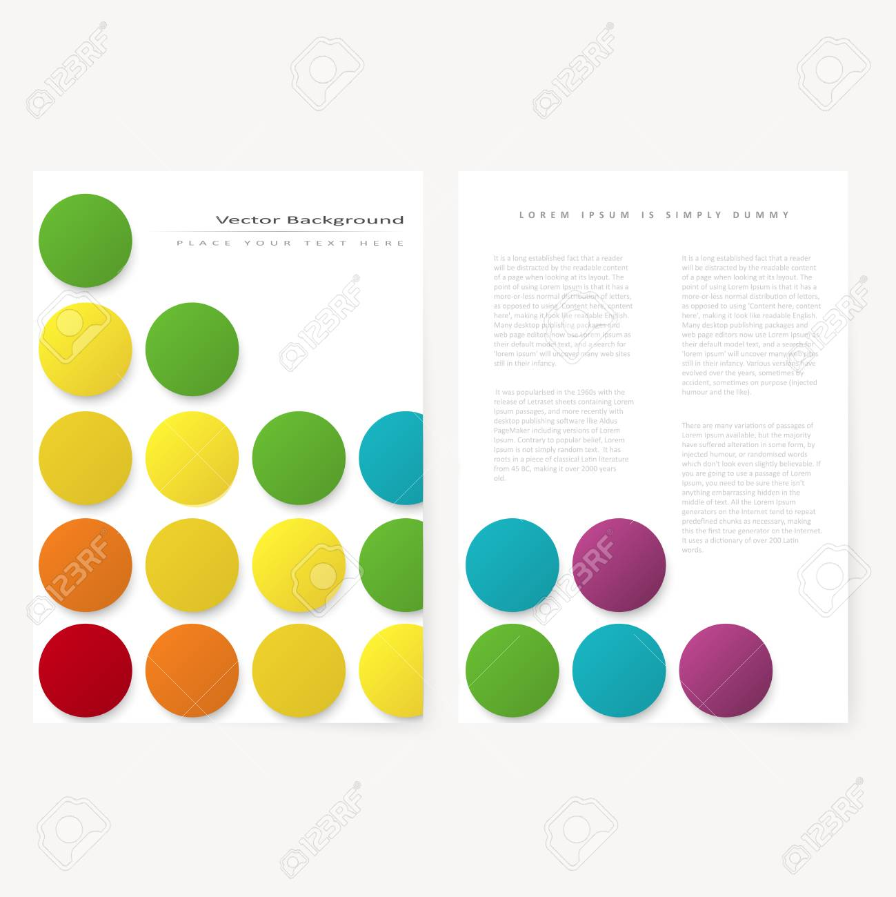 abstract template flyer with color rainbow circles design element