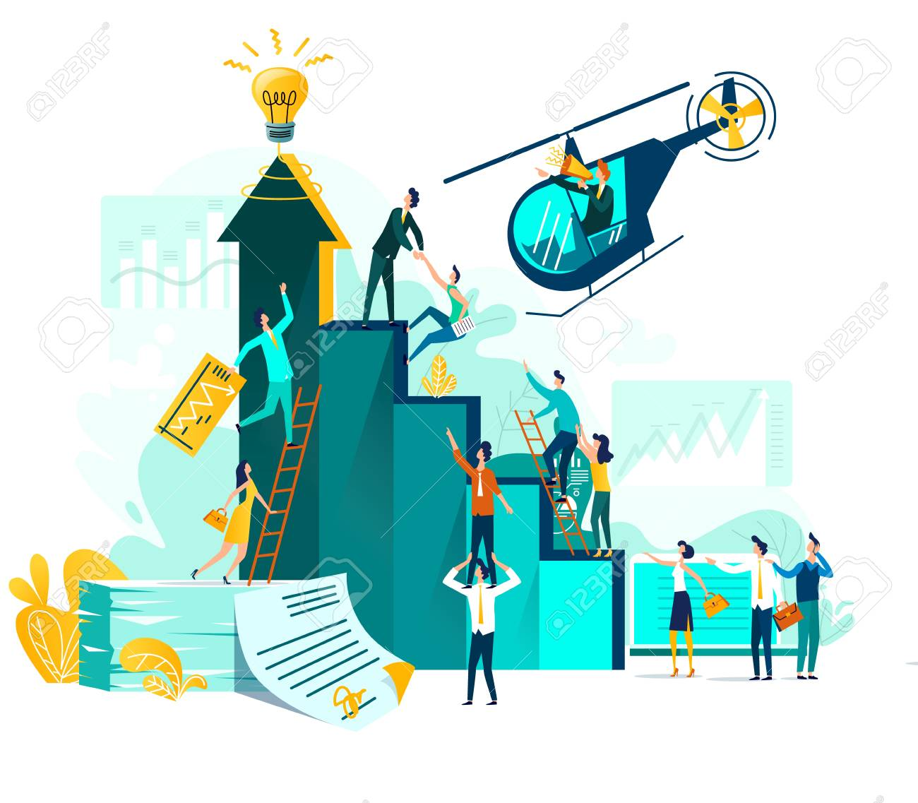 Goal achievement and teamwork businessvector concept, career growth and cooperation for development of project, idea, leader with loudspeaker in flying helicopter. Ladder of success, climbing people - 144341221