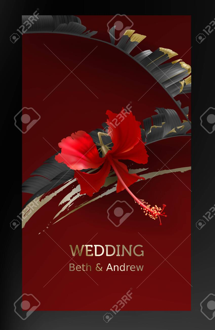 Tropical Black Gold Leaves On Maroon Background Vector Beautiful