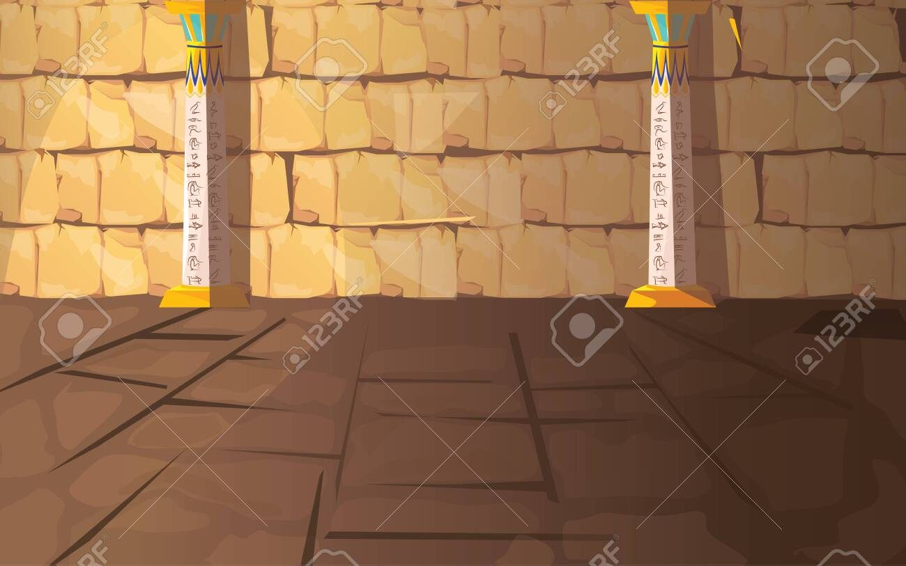 Ancient Egypt empty pharaoh tomb or temple room cartoon vector illustration. Egyptian pyramid interior with hieroglyphs on stone walls and white columns with oranment, background for game design - 132349308