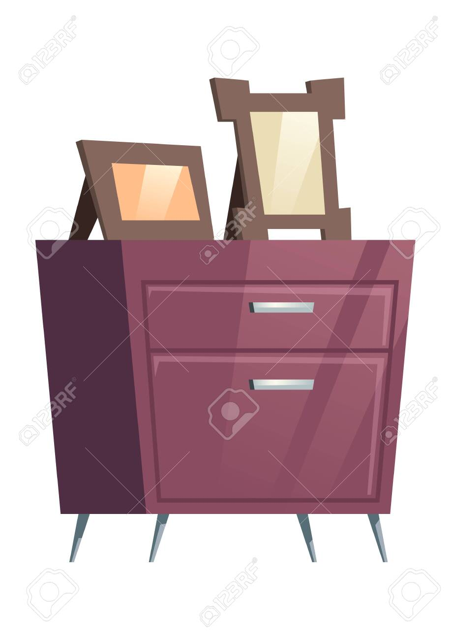 Bedroom Furniture Night Table Chest Of Drawers With Photo Frames Royalty Free Cliparts Vectors And Stock Illustration Image 140453644