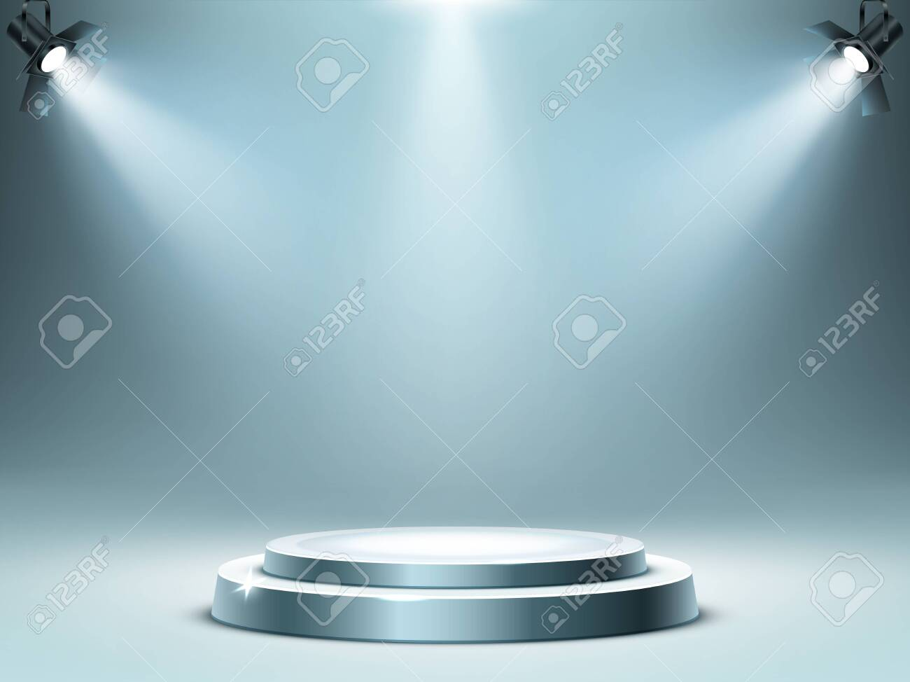Round podium or stage in rays of spotlights, realistic vector illustration. Pedestal for winner or award ceremony, empty platform for presentation, performance or show at night club, soon coming - 141795628