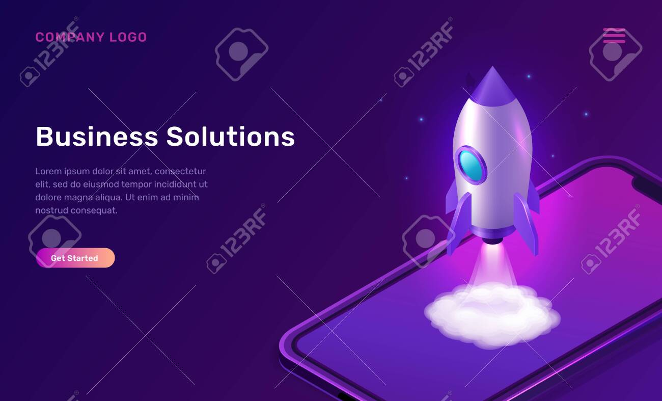 Business start up isometric concept vector illustration. Rocket taking off with fire and smoke cloud, mobile phone on ultraviolet background. Spaceship launching purple web page - 142368789