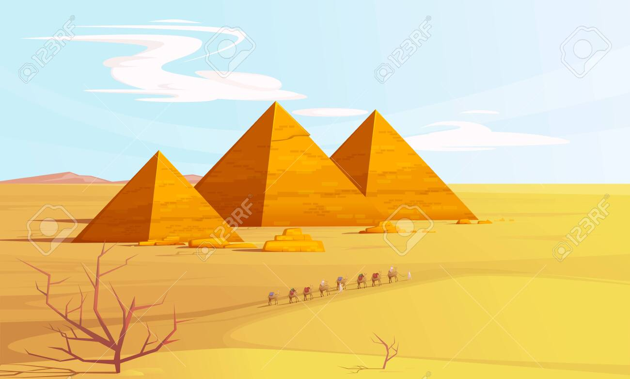 Desert landscape with egyptian pyramids and camels caravan, cartoon vector illustration. Hot golden sand dunes with pyramids on horizon and bedouins with camels. Desert banner - 142570533
