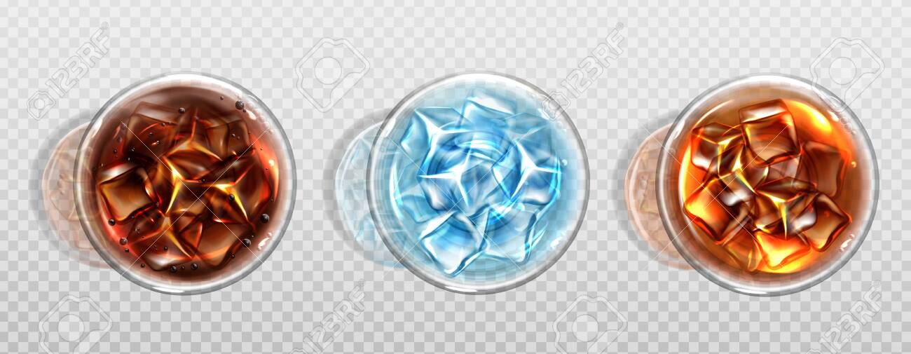 Top view of cola, cold tea and water with ice cubes. Cold soda drinks in glass cups with air bubbles. Isolated summer cocktails or alcohol beverages, Realistic 3d vector illustration, icon, clip art - 148175643