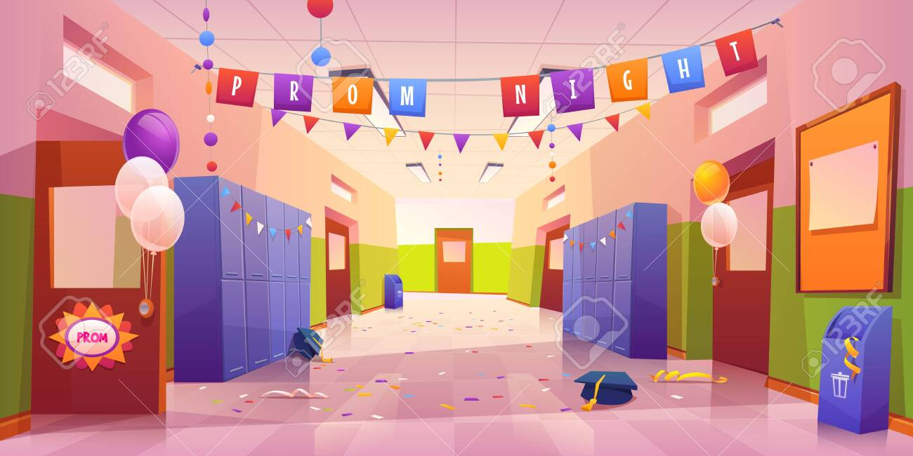 School hall after prom night celebration. Empty college corridor interior with balloons, garlands on students lockers, confetti and academic hats scattered on tiled floor. Cartoon vector illustration - 148173342