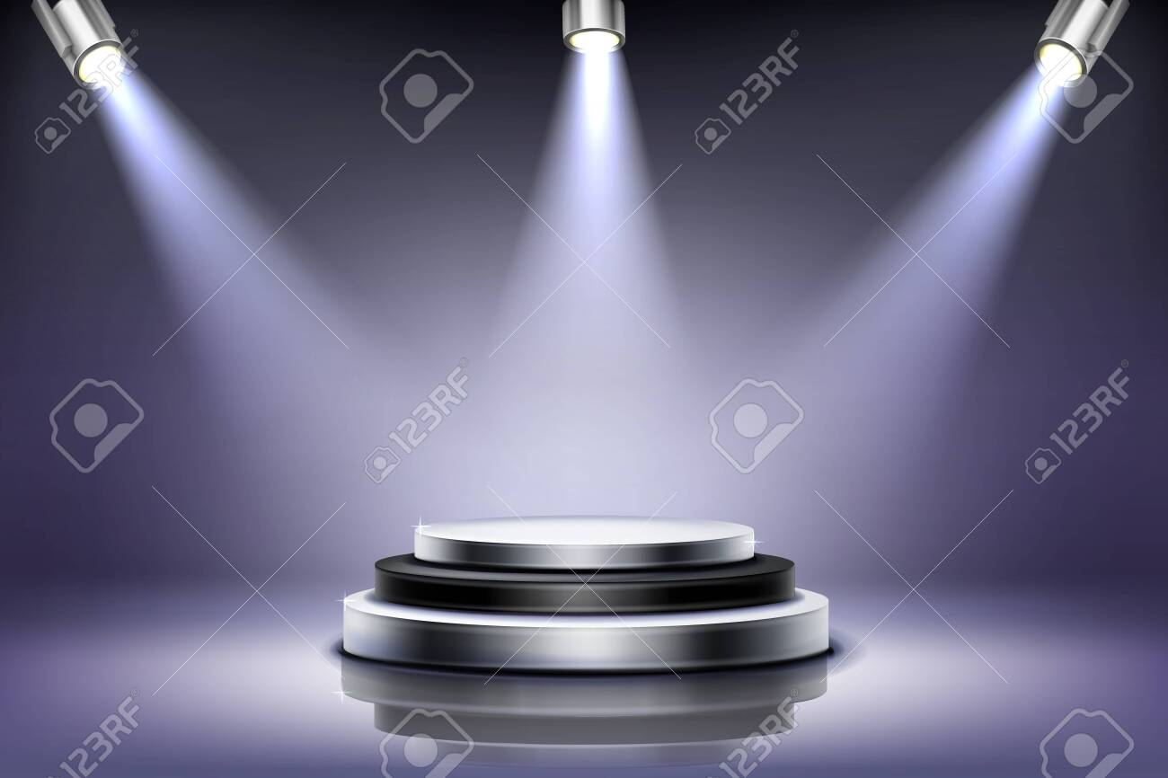 Round podium with spotlight illumination, empty stage for award ceremony, product presentation platform, fashion show performance pedestal, dance floor in nightclub Realistic 3d vector illustration - 148174788