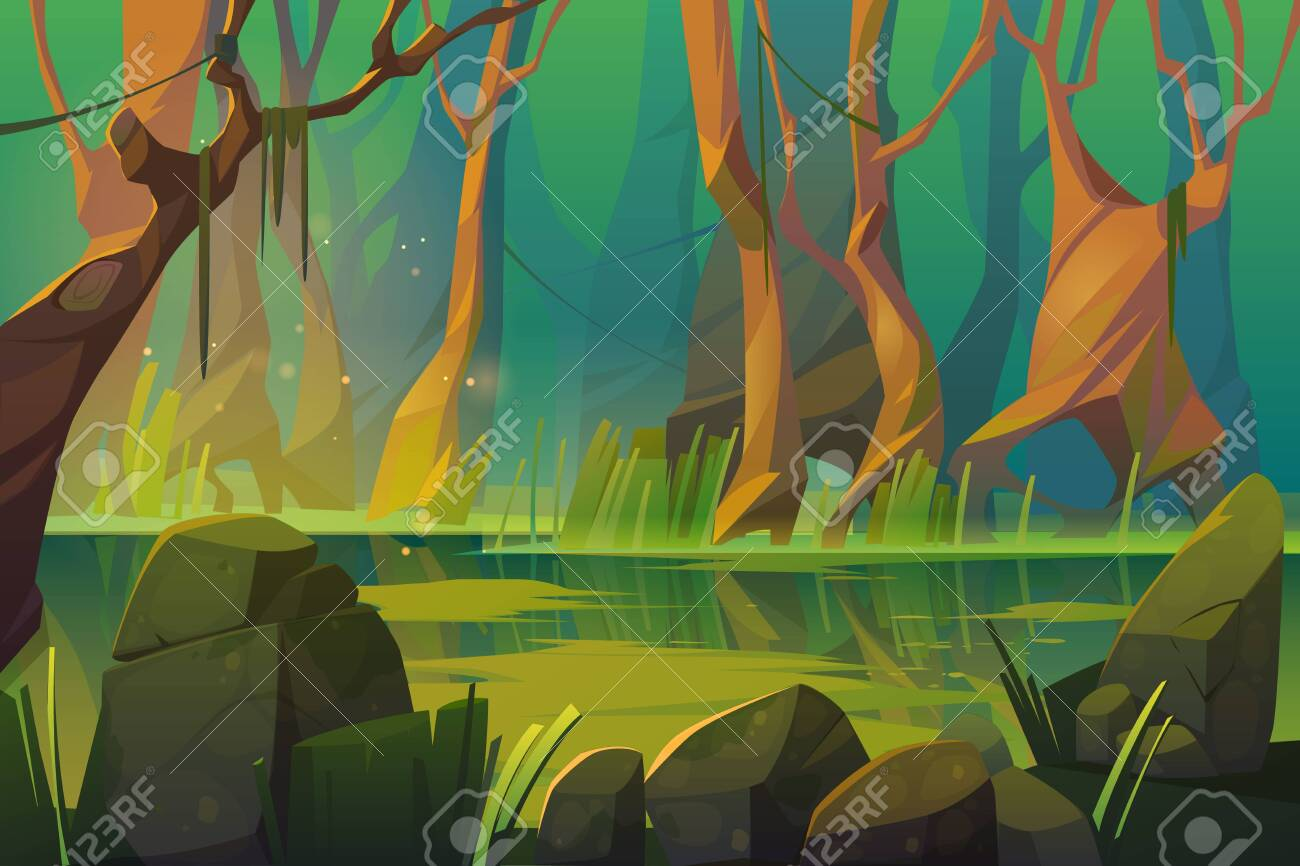 Swamp in tropical forest, fairy landscape with marsh, trees trunks, bog grass and rocks. Vector cartoon illustration of wild jungle, rain forest with river or swamp - 148173942