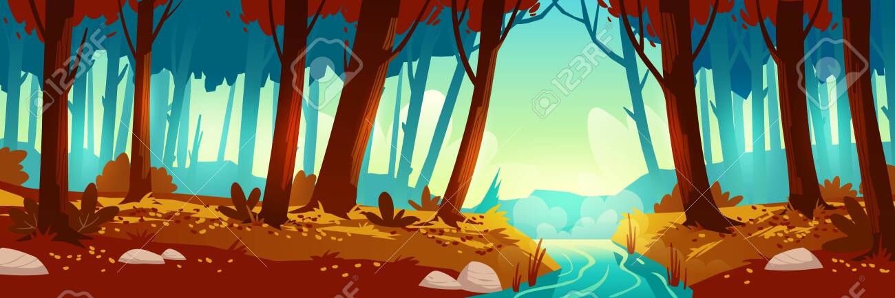 River flowing through autumn forest. Vector background of nature landscape with orange trees, leaves fall and water stream. Cartoon illustration of wild park or garden with bushes and brook - 148175537