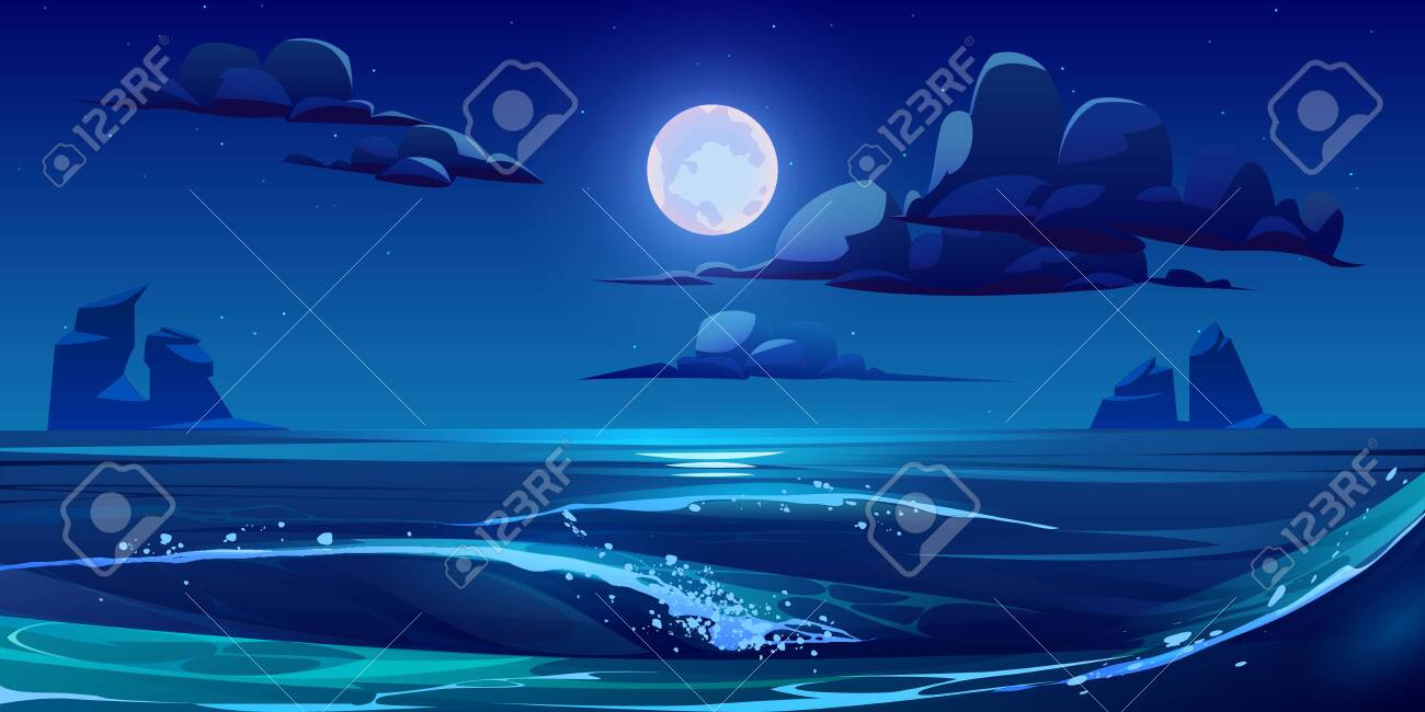 Night sea landscape with moon, stars and clouds in dark sky. Vector cartoon illustration of midnight scene of ocean waves with rocks and moonlight reflection - 148180773