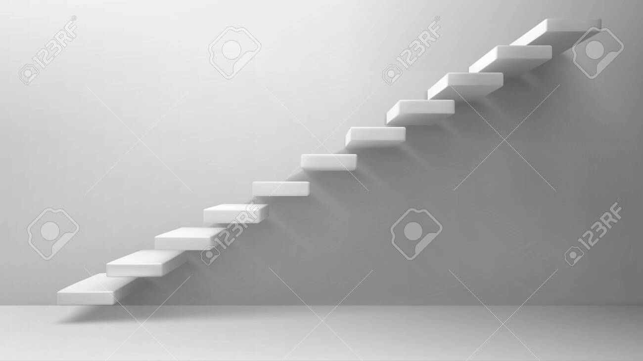 3d stairs, white staircase on blank wall background. Way to business success, career ladder, architecture construction for building interior or exterior decoration. Realistic vector illustration - 149039069