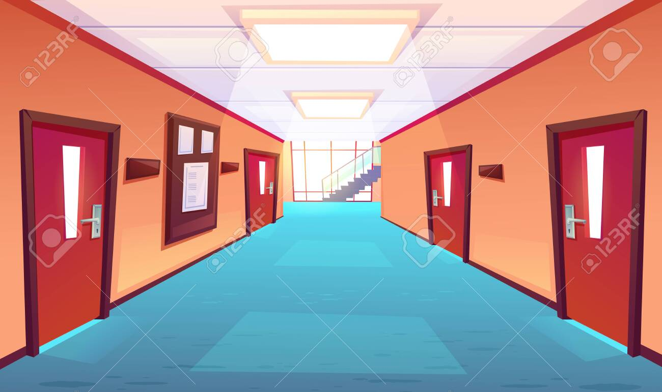 School corridor, hallway of college or university. Empty interior with closed doors, timetable board, floor-to-ceiling window, stairs perspective view. Educational campus, cartoon vector illustration - 149973454