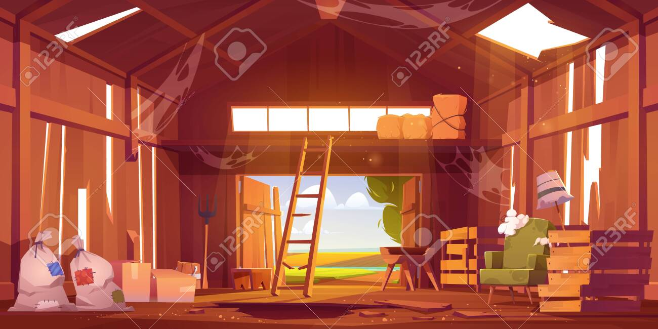 Abandoned barn interior with broken furniture, spiderweb and destroyed floor. Neglected farm house, ranch with haystacks, sacks, fork and open gate, old storehouse building Cartoon vector illustration - 151665663
