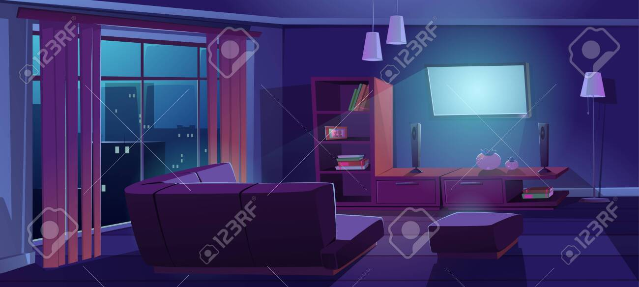 Living Room Interior With Tv And Sofa Back View At Night Dark Royalty Free Cliparts Vectors And Stock Illustration Image 153862228