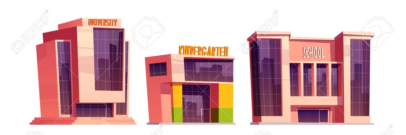 Buildings of school, kindergarten and university isolated on white background. Vector cartoon set of education houses, exterior of college, primary or elementary school, daycare - 154193201