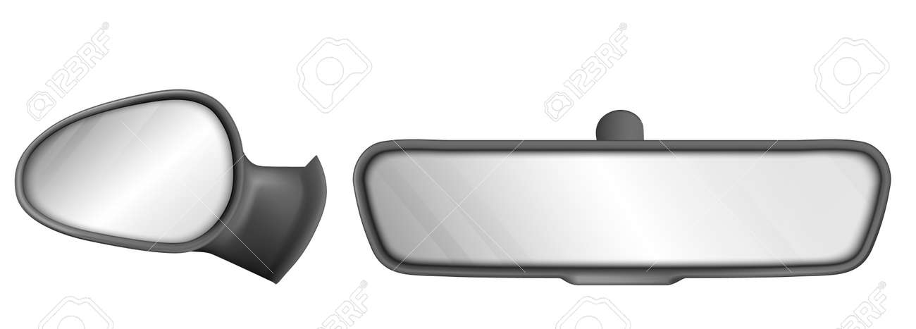 Rear view car mirrors in black frame isolated on white background. Vector realistic set of back and side rearview mirrors for vehicle interior. Automobile or truck equipment for safety driving - 155820588