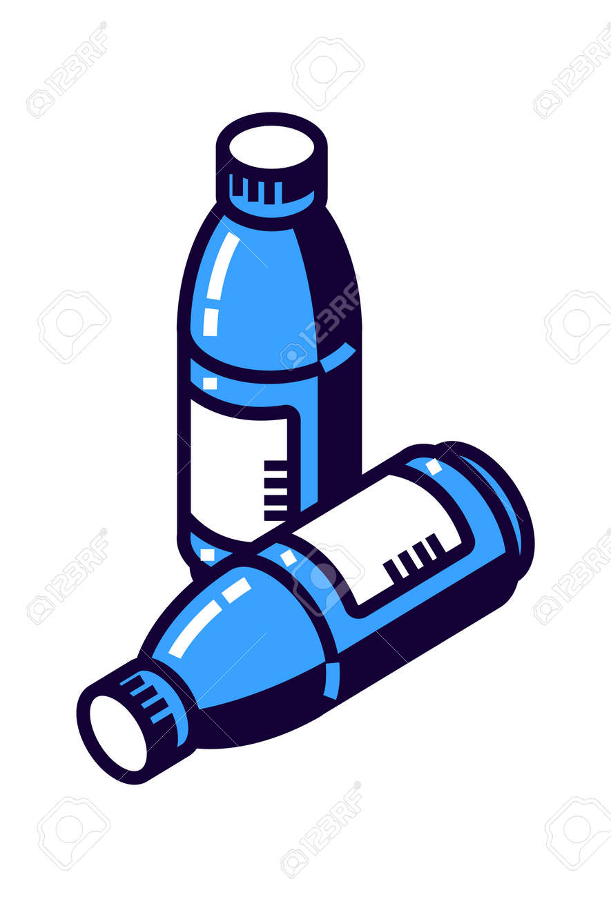 Plastic bottle for mineral water or other drinks, cartoon vector illustration isometric icon isolated on white background - 159271544