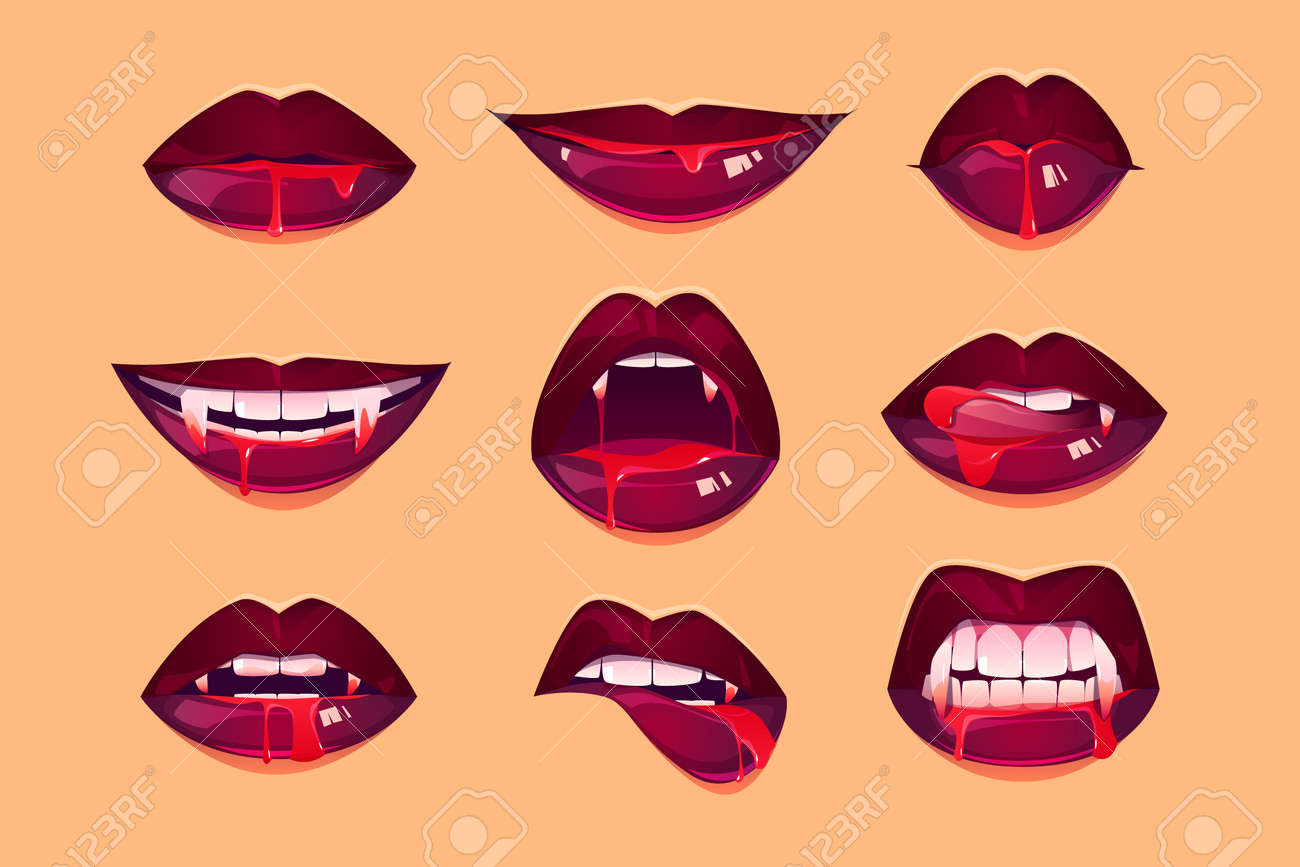 Vampire mouth with fangs set. Female closed and open red lips with long pointed canine teeth and bloody deip saliva express different emotions isolated on yellow background Cartoon vector illustration - 164501163
