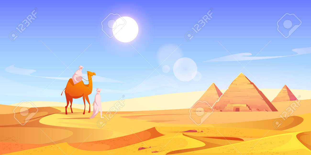 Two men and camel in Egyptian desert with pyramids. Vector cartoon illustration of landscape with arabic bedouins, yellow sand dunes, ancient pharaoh tombs and hot sun in sky - 164563765