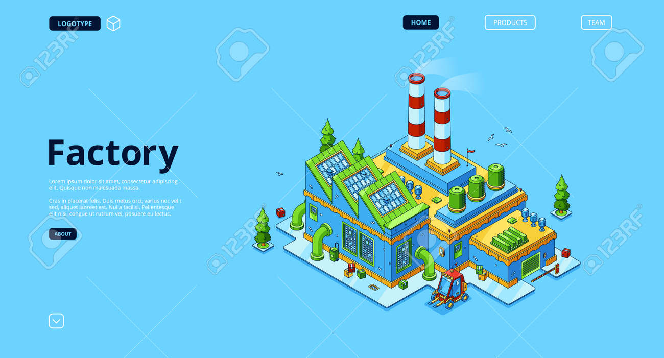Factory banner. Modern industry building, power station or manufactory. Vector landing page with isometric production plant exterior with chimney pipes, warehouse and forklift - 167197585