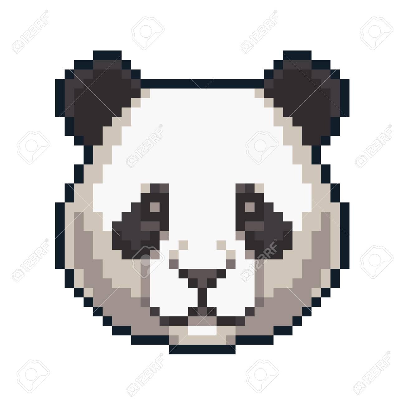 Pixel Art Giant Panda Isolated On White Background Royalty Free