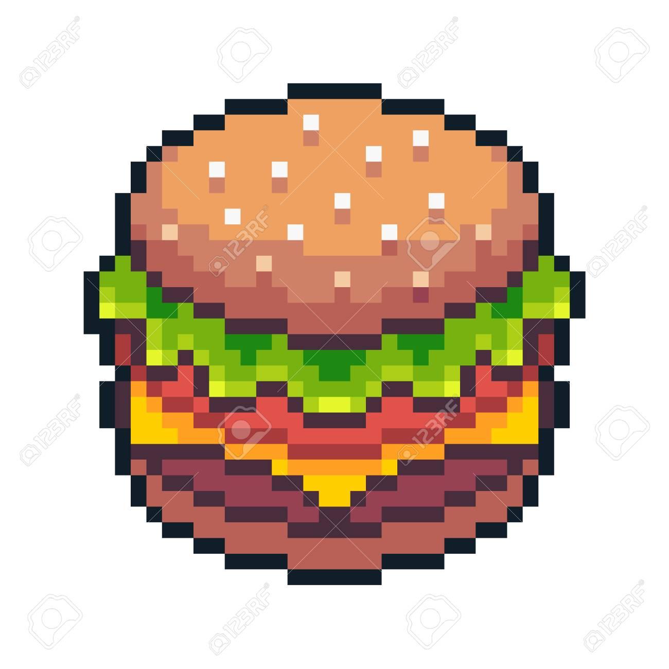 Pixel Art Hamburger Isolated On White Background