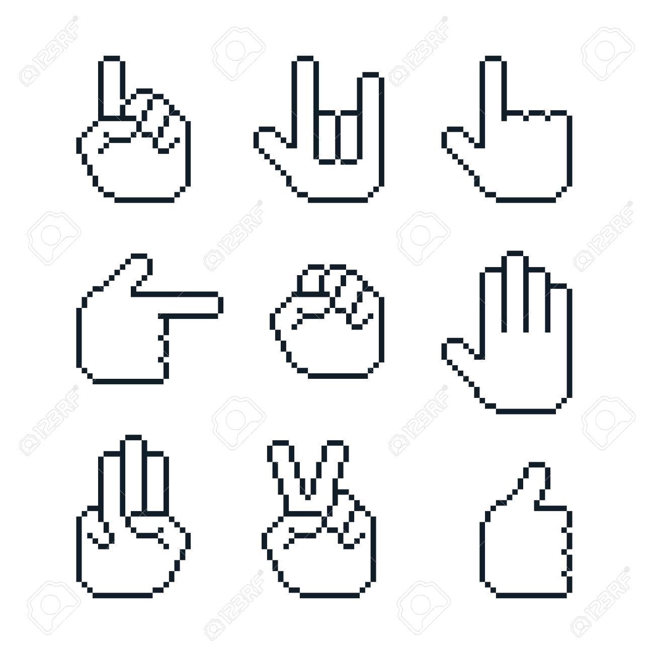 Pixel Art Vector White Hands Gestures Cursors Set