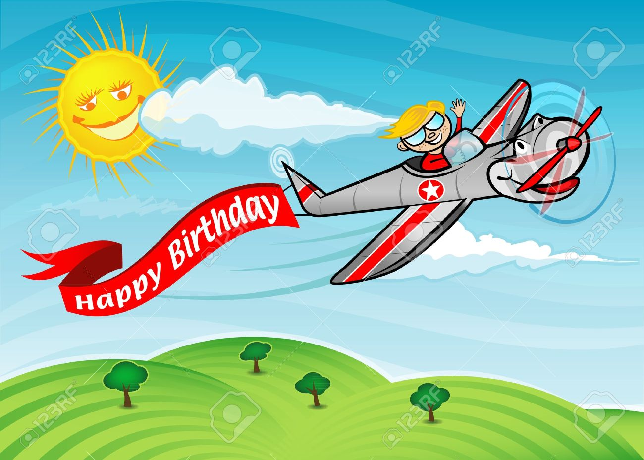 A boy flying an airplane with a banner that says  Happy Birthday Stock Vector - 14102328