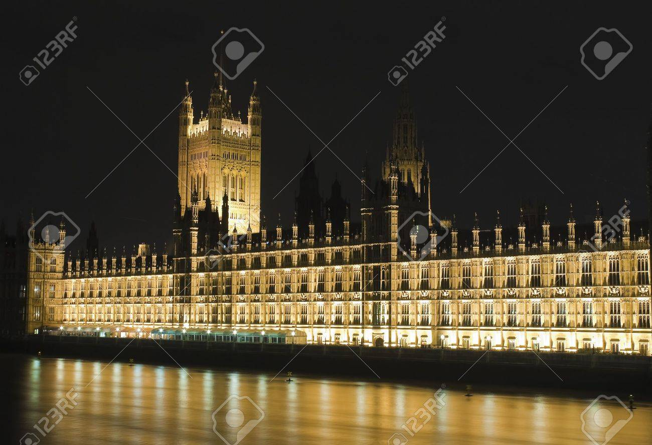 The Houses of Parliament in London illuminated at night Stock Photo - 5784570