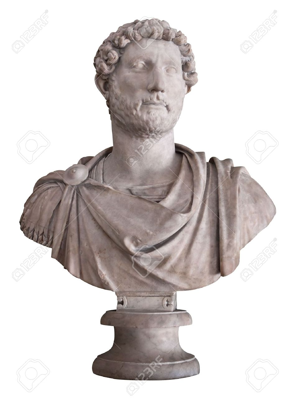 Ancient marble bust of the roman emperor Hadrian isolated on white with clipping path Stock Photo - 6596088