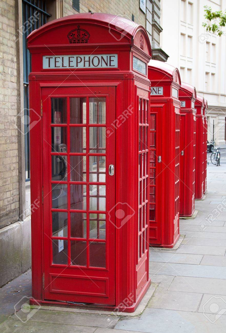 A group of typical red London phone cabins Stock Photo - 6995301