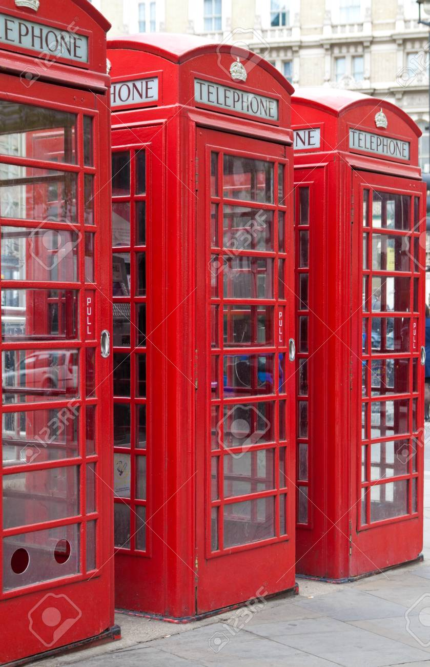 A group of typical red London phone cabins Stock Photo - 6995302