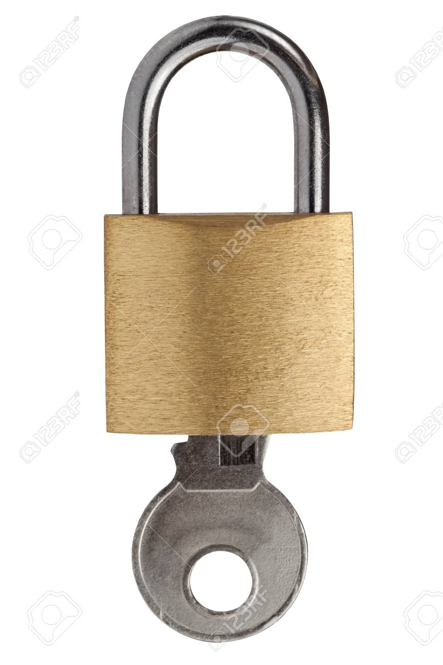 Brass padlock with key isolated on a white background with clipping path Stock Photo - 9383788