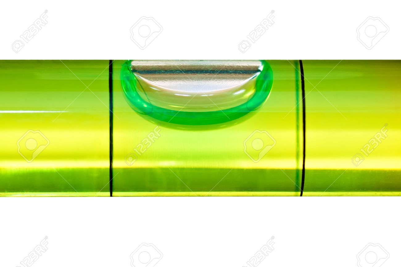 Green bubble level isolated on a white background with clipping path Stock Photo - 9383681