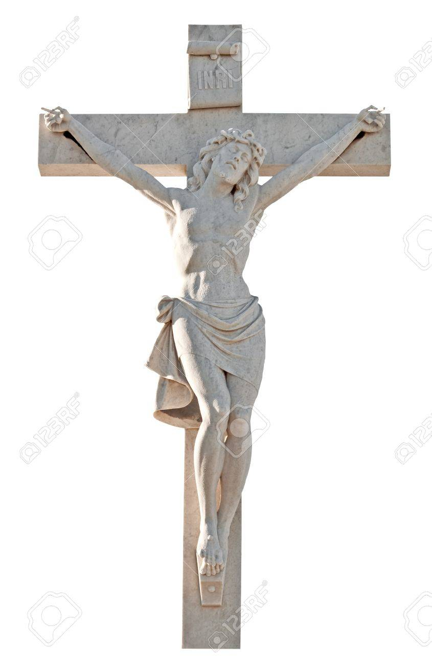 marble statue of jesus suffering on the cross isolated on a white