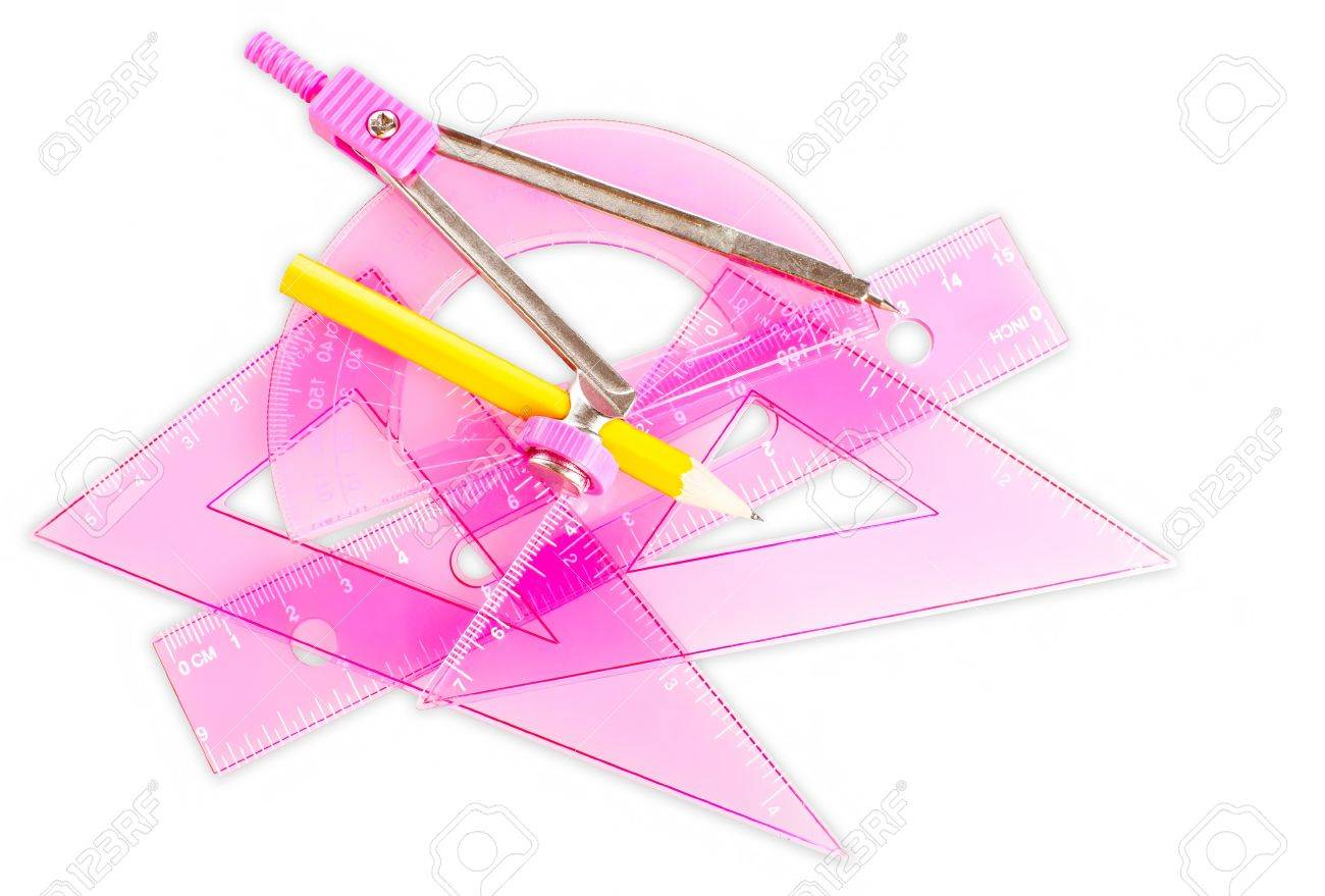 Set of school tools and accessories in pink isolated on a white background Stock Photo - 9396699