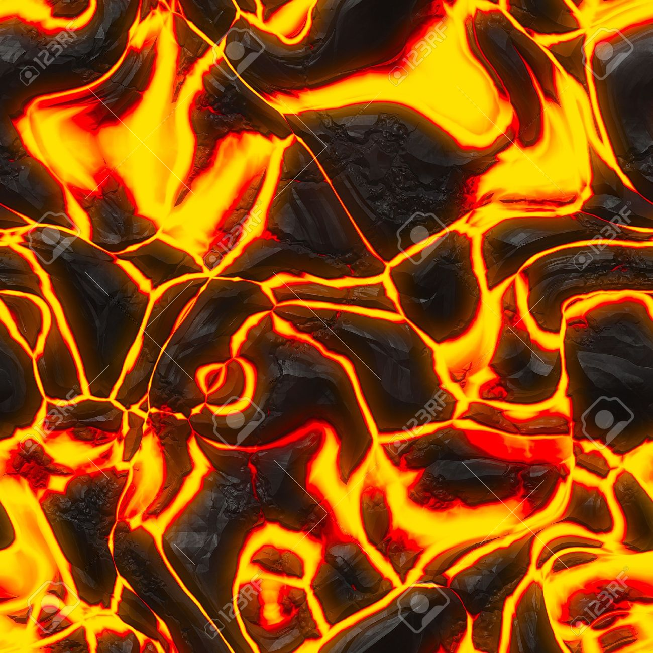 Seamless magma or lava texture with melting rocks and fire Stock Photo - 9395917