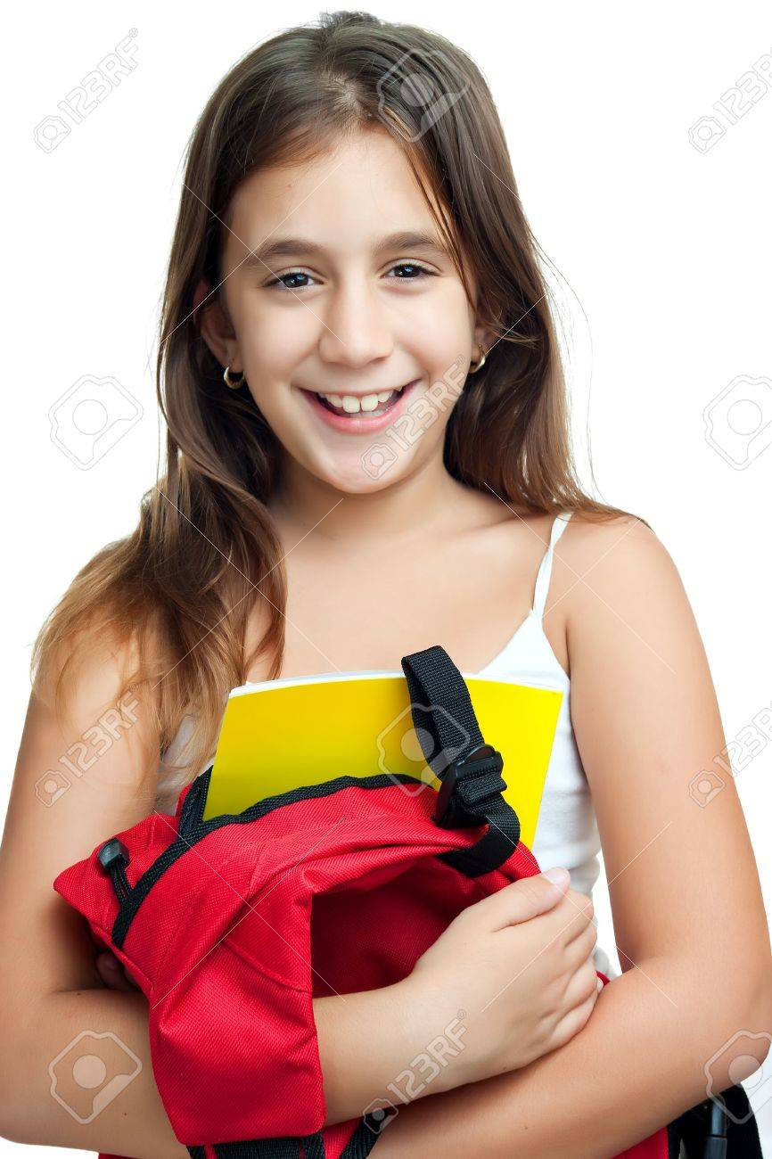 Cute girl carrying her school backpack with textbooks isolated on a white background Stock Photo - 11874738